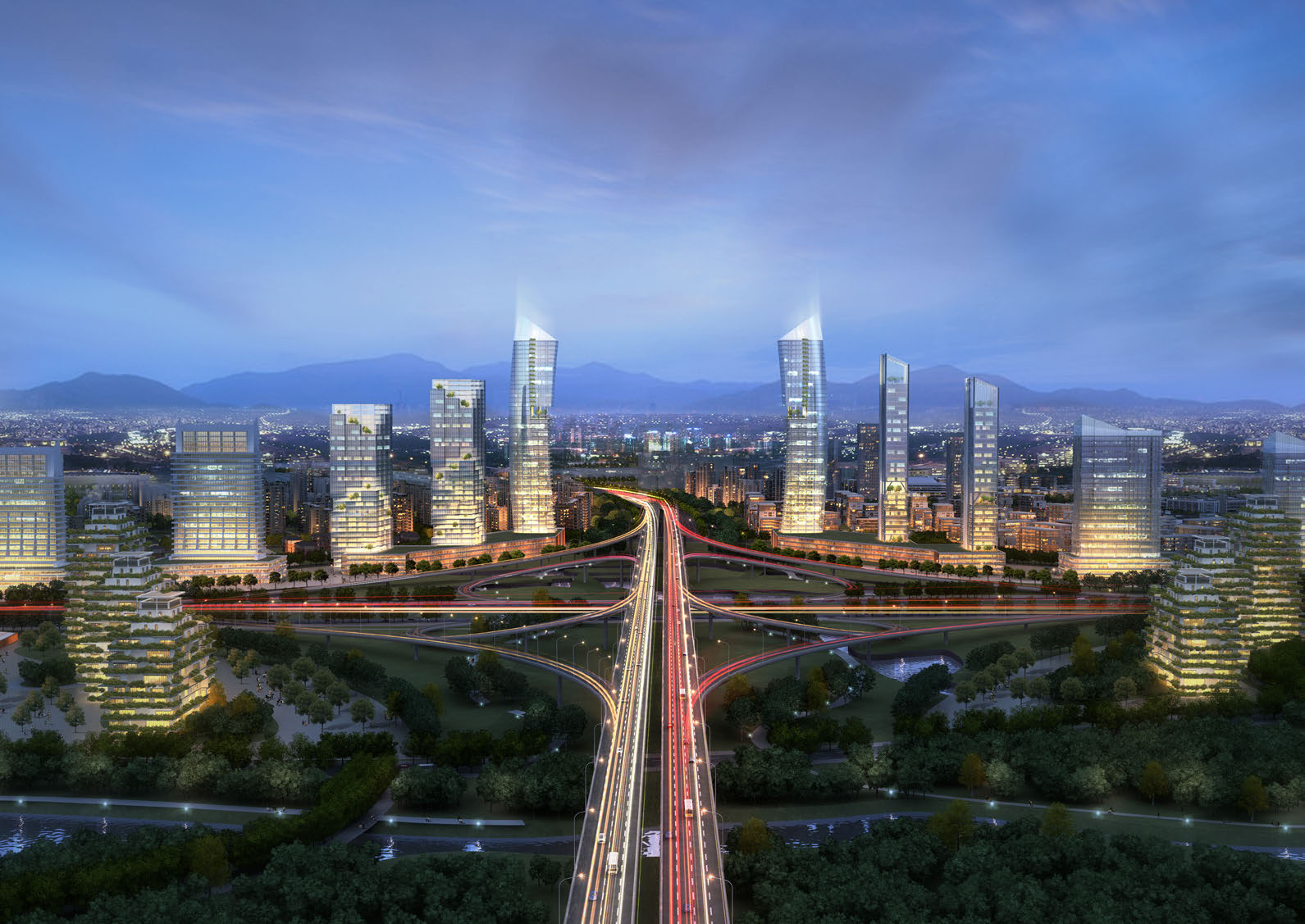 Assembledge, Hangzhou, Urban Planning, Rendering, Towers